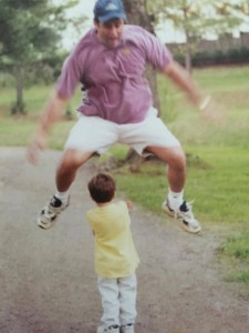 dad jumps over J